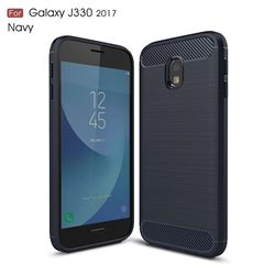 Luxury Carbon Fiber Brushed Wire Drawing Silicone TPU Back Cover for Samsung Galaxy J3 2017 J330 Eurasian (Navy)