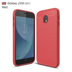 Luxury Carbon Fiber Brushed Wire Drawing Silicone TPU Back Cover for Samsung Galaxy J3 2017 J330 Eurasian (Red)