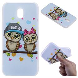 Couple Owls 3D Relief Matte Soft TPU Back Cover for Samsung Galaxy J3 2017 J330 Eurasian
