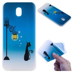 Street Light Cat 3D Relief Matte Soft TPU Back Cover for Samsung Galaxy J3 2017 J330 Eurasian