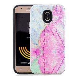 Pink Marble Pattern 2 in 1 PC + TPU Glossy Embossed Back Cover for Samsung Galaxy J3 2017 J330 Eurasian
