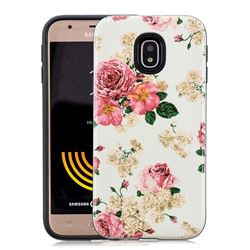 Rose Flower Pattern 2 in 1 PC + TPU Glossy Embossed Back Cover for Samsung Galaxy J3 2017 J330 Eurasian