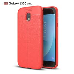 Luxury Auto Focus Litchi Texture Silicone TPU Back Cover for Samsung Galaxy J3 2017 J330 Eurasian - Red