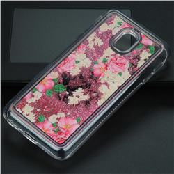 Rose Flower Glassy Glitter Quicksand Dynamic Liquid Soft Phone Case for Samsung Galaxy J3 2017 J330 Eurasian
