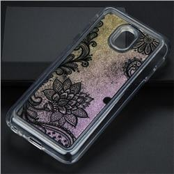 Diagonal Lace Glassy Glitter Quicksand Dynamic Liquid Soft Phone Case for Samsung Galaxy J3 2017 J330 Eurasian