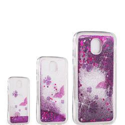 Purple Flower Butterfly Dynamic Liquid Glitter Quicksand Soft TPU Case for Samsung Galaxy J3 2017 J330 Eurasian