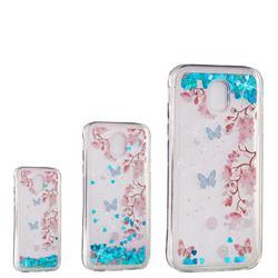 Blue Plum Blossom Dynamic Liquid Glitter Quicksand Soft TPU Case for Samsung Galaxy J3 2017 J330 Eurasian
