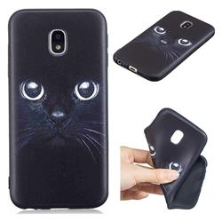 Bearded Feline 3D Embossed Relief Black TPU Cell Phone Back Cover for Samsung Galaxy J3 2017 J330 Eurasian