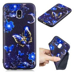 Phnom Penh Butterfly 3D Embossed Relief Black TPU Cell Phone Back Cover for Samsung Galaxy J3 2017 J330 Eurasian