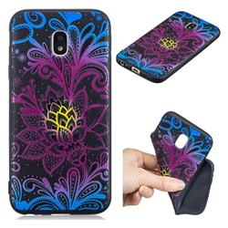 Colorful Lace 3D Embossed Relief Black TPU Cell Phone Back Cover for Samsung Galaxy J3 2017 J330 Eurasian