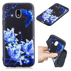 Blue Butterfly 3D Embossed Relief Black TPU Cell Phone Back Cover for Samsung Galaxy J3 2017 J330 Eurasian