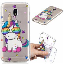 Glasses Unicorn Clear Varnish Soft Phone Back Cover for Samsung Galaxy J3 2017 J330 Eurasian
