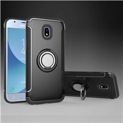 Armor Anti Drop Carbon PC + Silicon Invisible Ring Holder Phone Case for Samsung Galaxy J3 2017 J330 Eurasian - Black