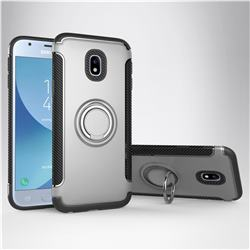 Armor Anti Drop Carbon PC + Silicon Invisible Ring Holder Phone Case for Samsung Galaxy J3 2017 J330 Eurasian - Silver