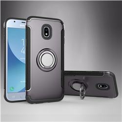 Armor Anti Drop Carbon PC + Silicon Invisible Ring Holder Phone Case for Samsung Galaxy J3 2017 J330 Eurasian - Grey