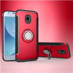 Armor Anti Drop Carbon PC + Silicon Invisible Ring Holder Phone Case for Samsung Galaxy J3 2017 J330 Eurasian - Red