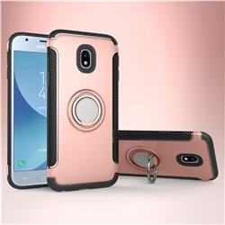 Armor Anti Drop Carbon PC + Silicon Invisible Ring Holder Phone Case for Samsung Galaxy J3 2017 J330 Eurasian - Rose Gold