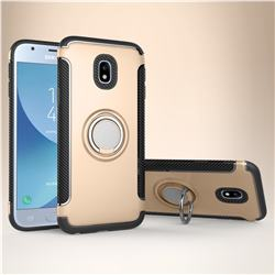 Armor Anti Drop Carbon PC + Silicon Invisible Ring Holder Phone Case for Samsung Galaxy J3 2017 J330 Eurasian - Champagne