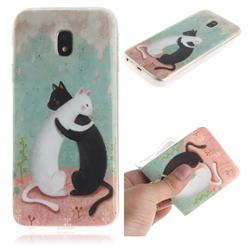 Black and White Cat IMD Soft TPU Cell Phone Back Cover for Samsung Galaxy J3 2017 J330 Eurasian