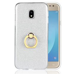 Luxury Soft TPU Glitter Back Ring Cover with 360 Rotate Finger Holder Buckle for Samsung Galaxy J3 2017 J330 Eurasian - White