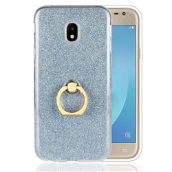 Luxury Soft TPU Glitter Back Ring Cover with 360 Rotate Finger Holder Buckle for Samsung Galaxy J3 2017 J330 Eurasian - Blue