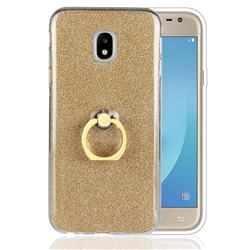 Luxury Soft TPU Glitter Back Ring Cover with 360 Rotate Finger Holder Buckle for Samsung Galaxy J3 2017 J330 Eurasian - Golden