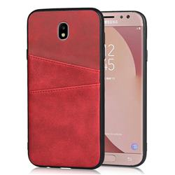 Simple Calf Card Slots Mobile Phone Back Cover for Samsung Galaxy J3 2017 J330 Eurasian - Red
