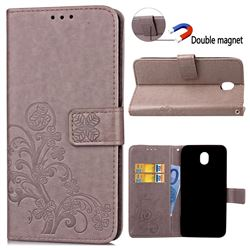 Embossing Imprint Four-Leaf Clover Leather Wallet Case for Samsung Galaxy J3 2017 J330 - Grey