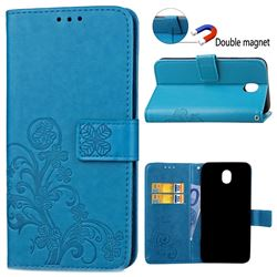Embossing Imprint Four-Leaf Clover Leather Wallet Case for Samsung Galaxy J3 2017 J330 - Blue