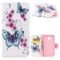 Peach Butterfly Leather Wallet Case for Samsung Galaxy J3 2017 J330