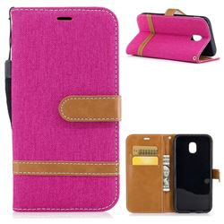 Jeans Cowboy Denim Leather Wallet Case for Samsung Galaxy J3 2017 J330 - Rose