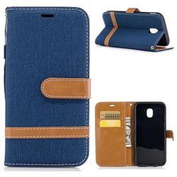 Jeans Cowboy Denim Leather Wallet Case for Samsung Galaxy J3 2017 J330 - Dark Blue