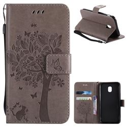 Embossing Butterfly Tree Leather Wallet Case for Samsung Galaxy J3 2017 J330 Eurasian - Grey
