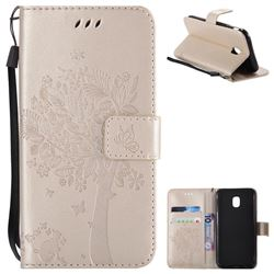 Embossing Butterfly Tree Leather Wallet Case for Samsung Galaxy J3 2017 J330 Eurasian - Champagne