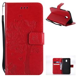 Embossing Butterfly Tree Leather Wallet Case for Samsung Galaxy J3 2017 J330 Eurasian - Red