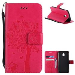 Embossing Butterfly Tree Leather Wallet Case for Samsung Galaxy J3 2017 J330 Eurasian - Rose