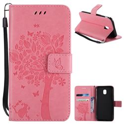 Embossing Butterfly Tree Leather Wallet Case for Samsung Galaxy J3 2017 J330 Eurasian - Pink