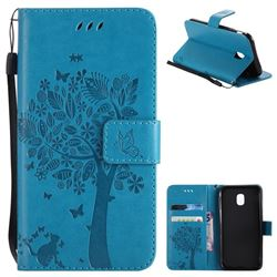Embossing Butterfly Tree Leather Wallet Case for Samsung Galaxy J3 2017 J330 Eurasian - Blue