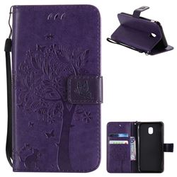 Embossing Butterfly Tree Leather Wallet Case for Samsung Galaxy J3 2017 J330 Eurasian - Purple