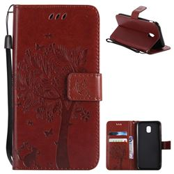 Embossing Butterfly Tree Leather Wallet Case for Samsung Galaxy J3 2017 J330 Eurasian - Brown