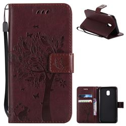 Embossing Butterfly Tree Leather Wallet Case for Samsung Galaxy J3 2017 J330 Eurasian - Coffee