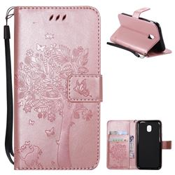 Embossing Butterfly Tree Leather Wallet Case for Samsung Galaxy J3 2017 J330 Eurasian - Rose Pink