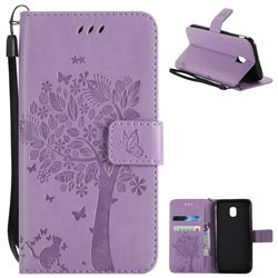 Embossing Butterfly Tree Leather Wallet Case for Samsung Galaxy J3 2017 J330 Eurasian - Violet
