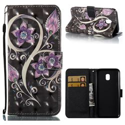 Peacock Flower 3D Painted Leather Wallet Case for Samsung Galaxy J3 2017 J330 Eurasian