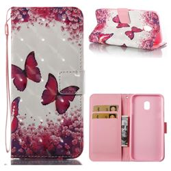 Rose Butterfly 3D Painted Leather Wallet Case for Samsung Galaxy J3 2017 J330 Eurasian