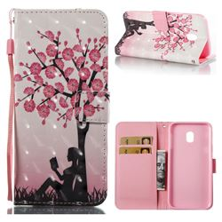 Plum Girl 3D Painted Leather Wallet Case for Samsung Galaxy J3 2017 J330 Eurasian
