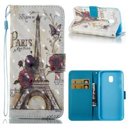 Flower Eiffel Tower 3D Painted Leather Wallet Case for Samsung Galaxy J3 2017 J330 Eurasian