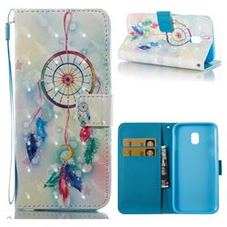 Feather Wind Chimes 3D Painted Leather Wallet Case for Samsung Galaxy J3 2017 J330 Eurasian