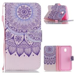 Purple Sunflower Leather Wallet Phone Case for Samsung Galaxy J3 2017 J330 Eurasian