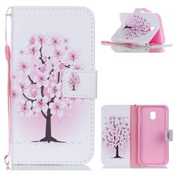 Peach Flower Leather Wallet Phone Case for Samsung Galaxy J3 2017 J330 Eurasian